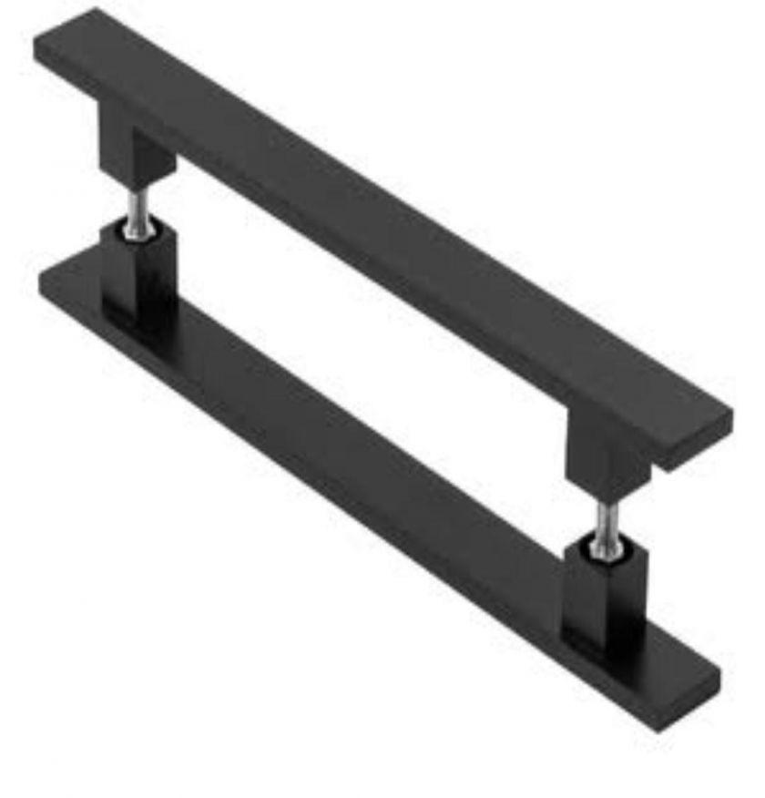 01 - Puxador Tubo Retangular Inox Reto ( preto) - 1679 - preto - Puxadores em inox