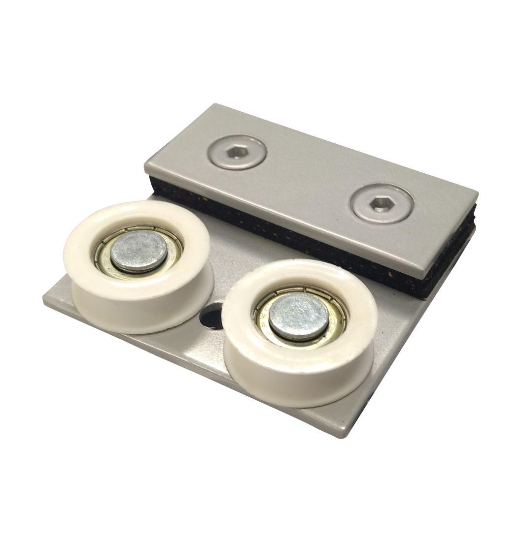 Carrinho Duplo Para Porta  com Trilho (Cx 125 Alumiplast) - 1122 - Roldanas