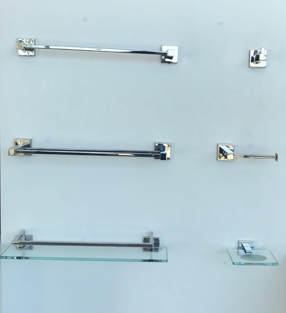 Kit Linha Banho 6 peças inox/vidro - 1884 - Acessórios para Banheiro