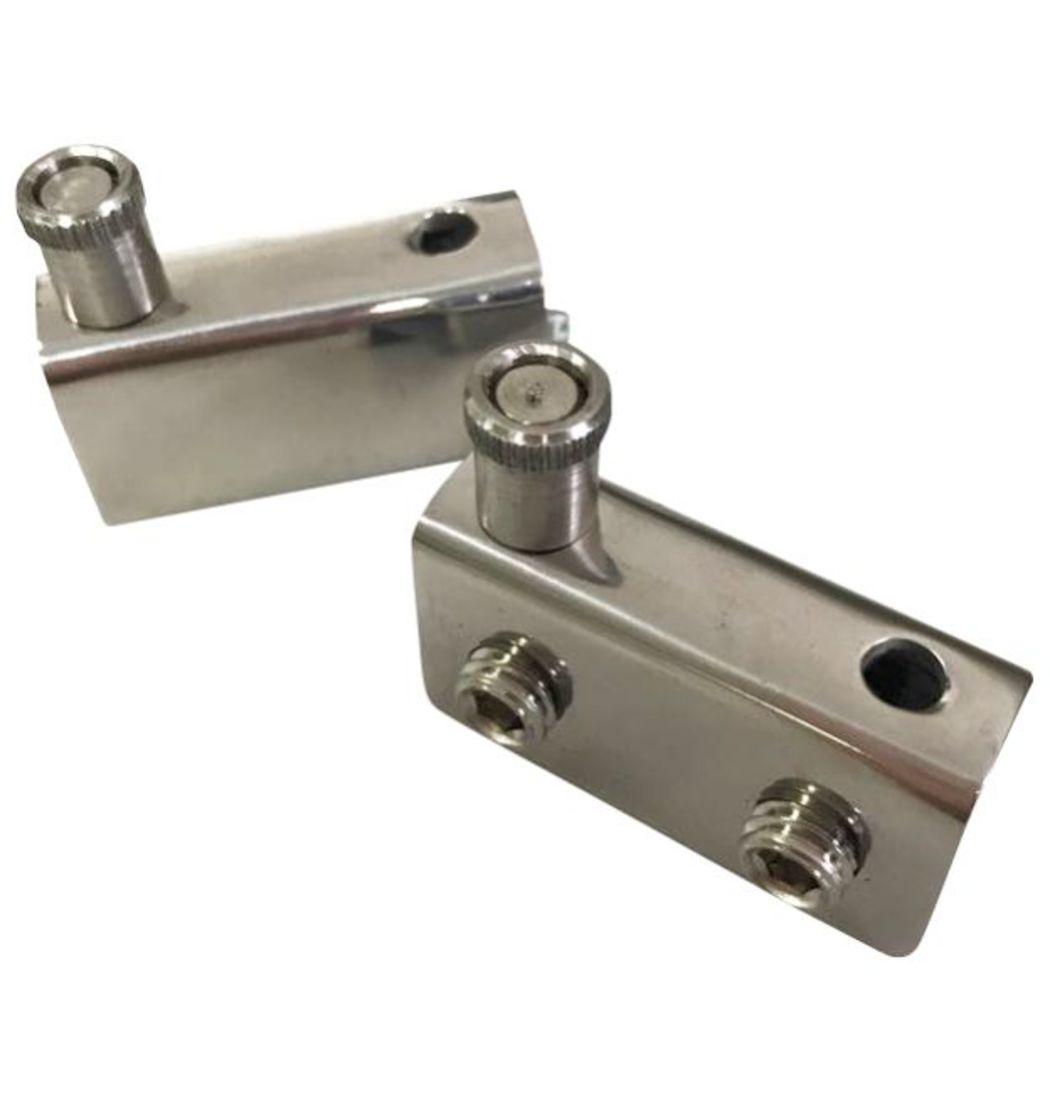 Dobradiça para Rack aço inox Polido (Encaixe - 4 a 8mm) - 1823 - Dobradiças